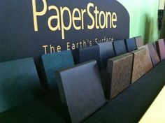 PaperStone... a uniquely, fabulous, countertop.  100% recycled material.  Heat resistant, water resistant. No need to seal, minimal maintenance. Warm to the touch, comes in twelve great colors.