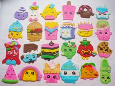 24 Shopkins edible fondant cucpake toppers, this is my set 1 and set 2 combined. You will receive the 24 different shopkins characters as shown in photo. These measure approximately 2 1/2 to 3 inches. Can be used as cake decorations as well. The drawn on details are applied with food color, these toppers are completely edible. I prefer at least a two week notice before your event to make and ship your decorations. My regular shipping method is USPS Priority Mail. All toppers are individ...
