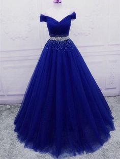 Elegant Royal Blue Tulle Sequins Prom Dress A-line Long Party Dr – BeMyBridesmaid Formal Dance Dresses, Prom Girl Dresses, Pretty Prom Dresses, Grad Dresses, Ball Gown Dresses, Homecoming Dresses, Cute Dresses, Quince Dresses, Evening Dresses