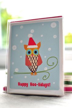 Happy Hoo lidays Owl Christmas Card Set with Stickers