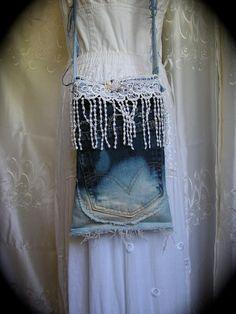 Tattered Denim Bag upcycled blue jean bleach dip dyed by TatteredDelicates