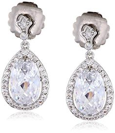 CZ by Kenneth Jay Lane Special Occasion Oval Pave Pear Cubic Zirconia Delicate Dangle Post Drop Earrings 10 CTTW