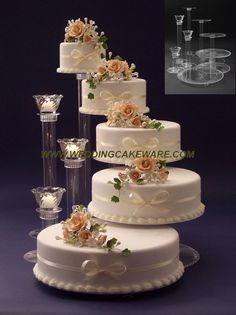 Floral Wedding Cakes wedding cake stand with tie dye orchids instead of roses (candels stand) - 5 Tier Wedding Cakes, Wedding Cake Stands, Wedding Cake Decorations, Elegant Wedding Cakes, Beautiful Wedding Cakes, Wedding Cake Designs, Beautiful Cakes, Amazing Cakes, Cupcake Stands For Weddings
