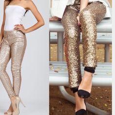 LAST ONES! ❤️GORGEOUS SEQUIN LEGGINGS! Beautiful Gold Sequin Leggings! Pants