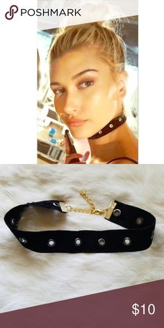 "Hailey Cutout Choker Super trendy & fun Black cut out choker is has small cut out rings for added flair. Can make any outfit edgy & fun. Choker measures 11"" and adjusts to 14"". NOT Free people. Jewelry Necklaces"