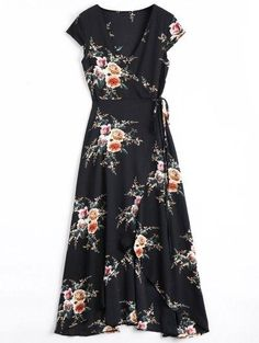 #Zaful - #Zaful Wrap Flower Asymmetrical Maxi Dress - AdoreWe.com