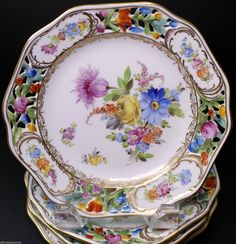 Carl Thieme Dresden Hand Painted Set of Four Reticulated Bread Plate Plates - C