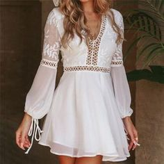 New Fashion Women Casual V-Neck Long Sleeve Lace Trim Short Mini Dress – Ozzy . - - New Fashion Women Casual V-Neck Long Sleeve Lace Trim Short Mini Dress – Ozzy Bella All Great Apparel Source by rositrautwein White Flowy Dress, White Mini Dress, Lace Dress, White Dress Casual, White Chiffon, White Long Sleeve Dress, Coral Dress, Chiffon Skirt, Long Sleeve Romper