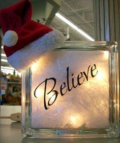 Krafty Blok and Vinyl Words Holiday Decorations, Holiday Ideas, Christmas Ideas, Christmas Things, Christmas Holidays, Christmas Glass Blocks, Glass Block Crafts, Glass Brick, Planning Board