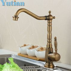 Free Shipping Kitchen Faucet Antique Brass Swivel Bathroom Basin Sink Mixer  Tap Crane,torneira YT