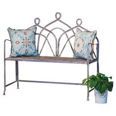Bring a lovely touch to your patio seating group or accent your garden path with this rustic metal bench, showcasing a bistro-inspired design and scrolling b...