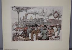 this print is #6468, The Train Station by Anton Pieck. it was printed in Holland in 1970 by The Donald Art Co. Inc.  Anton Pieck is known for his whimsical fairy tale like drawings. he had a huge collection of drawings, please see the others that i have listed.    measurements are approx.  7 x 9 outside dimension  4-3/4 x 7 (just under) image dimensions    please contact me for accurate international shipping costs.    please see my shop for many other paper pieces…