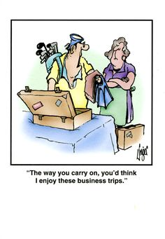 Funny card featuring a classic Herman cartoon, by Jim Unger, about a skeptical wife watching her husband pack scuba gear and golf clubs for a business trip. Description from comedycard.co.uk. I searched for this on bing.com/images