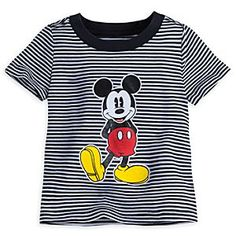 Mickey Mouse Striped Tee for Baby | Disney Store Baby joins a new generation of Mickey fans in this all-cotton tee as Mickey strikes his classic pose against an optical background of black and white stripes.