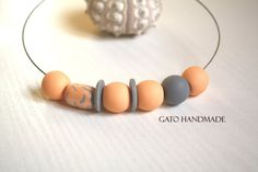 Unique handmade nude necklace/Pearly nude by GATODesign on Etsy