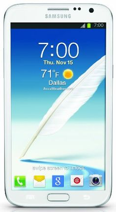 Samsung Galaxy Note II, White (Sprint) Display: 5.5-inches. Camera: 8-MP. Processor Speed: 1.6 GHz. OS: Android 4.1 (Jelly Bean).  #Samsung #Wireless