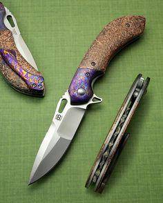 """Available now. Wayfarer Compact: 3.5"""" S30V, compound grind, titanium-damascus bolster/clip, hammered copper scales, carved backspacer #olamic #knifesale #knifestagram #knifepics #knifeporn #bladeporn #usnstagram #customknife #customknives"""