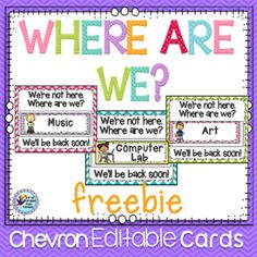 Where Are We - Classroom Decor from First Grade Fun Times on TeachersNotebook.com -  (10 pages)  - Free display for telling people where your class may be when out of the room.