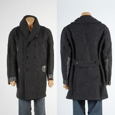 46 XL Mens Vintage 20s 1920s Heavy Wool Horsehide Mackinaw Coat Workwear Jacket