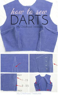 Sewing darts give shape to your clothing and bag sewing projects. … Sewing darts give shape to your Dress Sewing Patterns, Sewing Patterns Free, Free Sewing, Clothing Patterns, Blouse Sewing Pattern, Denim Quilt Patterns, Sewing Paterns, Summer Dress Patterns, Vintage Dress Patterns