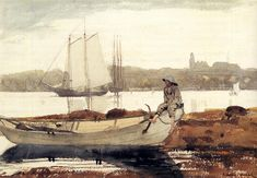 Winslow Homer, Gloucester Harbor and Dory: 1880