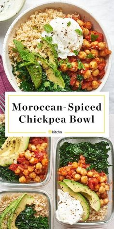 Recipe: Moroccan-Spiced Chickpea Bowls — Recipes from The Kitchn - Thinking of using quinoa instead of bulgur so it's gluten-free. Chickpea Recipes, Veggie Recipes, Vegetarian Recipes, Cooking Recipes, Healthy Recipes, Freezer Recipes, Freezer Cooking, Vegan Meals, Freezer Meals