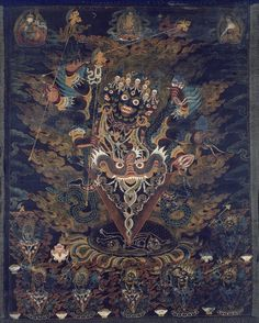 An eighteenth-century central Tibetan painted banner (thangka) with Guru Dragpur or Vajrakila, a wrathful form of Guru Padmasambhava; his wrathful aspect is symbolised, among other things, by his skull headdress. (Art Institute of Chicago)