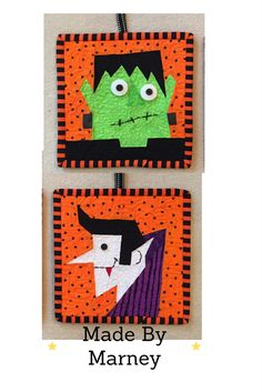 FREE paper pieced patterns from madebymarney.com. These adorable Frankenstein and Count Dracula patterns can be found on Etsy and Craftsy.