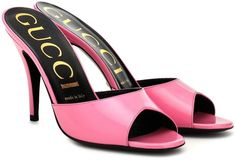 Slip on these sandals from Gucci to add a pop of color to looks. Crafted from polished leather in a bubblegum pink hue, this sleek style works a simple silhouette with an elegant peep toe at the front. Pink Shoes, Shoes Heels, Rubber Sandals, Beautiful Heels, Fashion Sandals, Bubblegum Pink, Ankle Straps, T Strap, Leather Sandals
