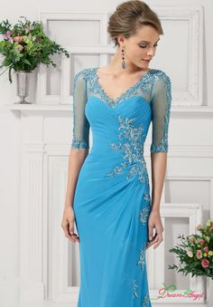Free Shipping Embroidery With Beaded Crystals Half Sleeves Keyhole Back Blue Chiffon Mother Of The Bride Dress With Jacket 2017