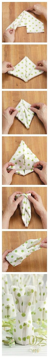 How to Fold a Bunny Napkin - - How to Fold a Bunny Napkin. How to Fold a Bunny Napkin - - How to Fold a Bunny Napkin. Christmas Tree Napkin Fold, Christmas Napkins, Ostern Party, Diy Ostern, Holiday Fun, Holiday Crafts, Bunny Napkin Fold, Deco Table Noel, Festa Party