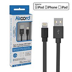 Akcord® Apple MFi Certified Lightning to USB Cable (3.3 Feet / 1 Meter) - Black - FREE Bonus eBook Included - Flat Design Charge and Sync Data Cord for iPhone 6 / 6 Plus / 5S / 5C / 5, iPad Air / iPad Mini 3 / 2 / iPad Mini with Retina display / iPad 4th generation, iPod 5th generation and iPod nano 7th generation - 24-Month Warranty Akcord http://www.amazon.com/dp/B00R0D6UPY/ref=cm_sw_r_pi_dp_zicWub0AME1ZT