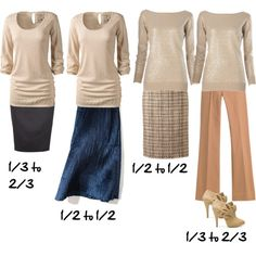 How to Use the Golden Mean Ratio to Dress: So what is the rule of thirds? It's the breaking up of the body into uneven proportions (in thirds). You can see the two outside pictures are in 1/3 to 2/3 ratios, the two middle pictures are splitting the body into halves and it doesn't look as visually appealing.