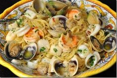 Feast of the Seven Fishes (Italian: Festa dei sette pesci), also known as The Vigil (Italian: La Vigilia), is a celebration of Christmas Eve with meals of fish and other seafood. (via wikipedia.) Here is the recipe for Spaghetti Ai Frutti Di Mare! Fish Recipes, Seafood Recipes, Pasta Recipes, Cooking Recipes, Seafood Pasta, Seafood Dishes, Pasta Dishes, Pasta Food, Food Food
