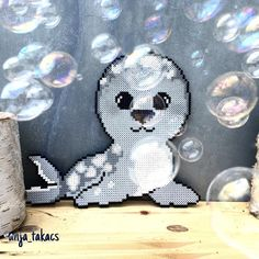 Seal hama beads by anja_takacs Melty Bead Patterns, Pearler Bead Patterns, Perler Patterns, Beading Patterns, Hama Beads Animals, Beaded Animals, Nerd Crafts, Crafts To Do, Perler Bead Templates