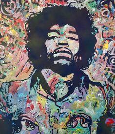Acrylic Painting of Jimi Hendrix by artist Matt Pecson