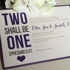 Two Shall Be One Christian Wedding invitations #weddinginvitations #Christianwedding