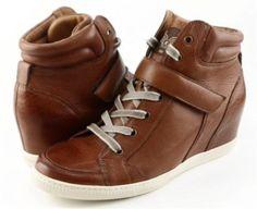 PAUL-GREEN-PARIS-Saddle-Leather-Womens-Designer-High-Top-Wedge-Sneakers-9-5