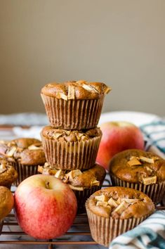 Making this warm flavor combo into a delicious and healthy gluten free muffin couldn't be easier with these Apple Cinnamon Almond Butter Muffins! Blueberry Zucchini Muffins, Healthy Muffins, Healthy Desserts, Healthy Sweets, Healthy Kids, Healthy Food, Yummy Food, Apple Cinnamon Muffins, Apple Cider Donuts
