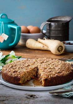 Sweet parsnips are used instead of carrots in this moist morning glory maple coffee cake. Enjoy warm with a cup of coffee or tea. #coffeecake #parsnip #cake #breakfast #maple #baking