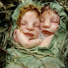 Fairy Twin Babies on Nest Handsculpted OOAK Art by NenufarBlanco, €110.00