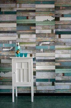 Multicoloured wood panel walls- M