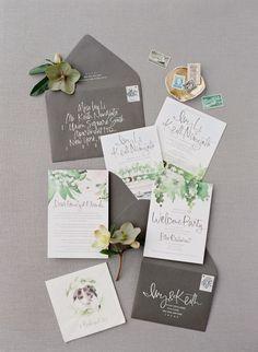 Chrome and watercolor greenery wedding invitations: http://www.stylemepretty.com/2016/12/20/best-invitations-of-2016/ Photography: Jose Villa - http://josevillablog.com/