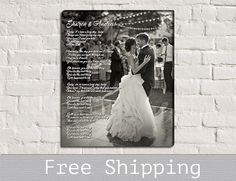 Wedding First Dance Song Lyrics Photo on Canvas.... this is so going to be my next purchase!!! Absolutely love this idea