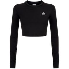 adidas Originals Cropped Chest Logo T-Shirt ($47) ❤ liked on Polyvore featuring tops, t-shirts, adidas originals, adidas originals top, adidas originals tee and adidas originals t shirt