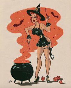Sveta Shubina pin up Halloween Pin Up, Retro Halloween, Halloween Cartoons, Halloween Drawings, Halloween Quotes, Vintage Halloween Posters, Halloween Crafts, Halloween Costumes, Vintage Cartoon