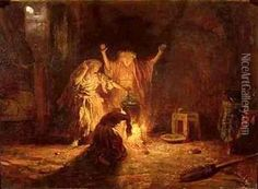 oil paintings of witches | The Witches in Macbeth Oil Painting, Alexandre Gabriel Decamps Oil ...