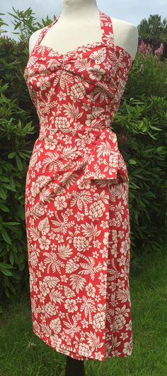 Hawaiian - 1950s vintage inspired red white Halter neck sarong dress in hibiscus print XS to XXL rockabilly VLV