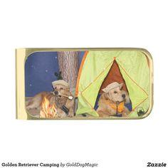 Golden Retriever Camping Gold Finish Money Clip