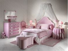 Bedroom, : Comely Design Using Pink Theme Girls Bedroom Decoration With Pink Comforter In White Sheer Canopy Bed Also Pink Wood Bedside Table And Pink Furry Rug Along With Pink Dresser
